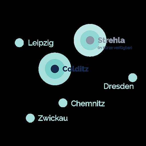 Karte Verbreitungsgebiet in Colditz und Umgebung
